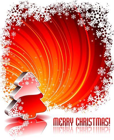 Vektor helgdag illustration med glänsande 3d julgran på röd bakgrund.