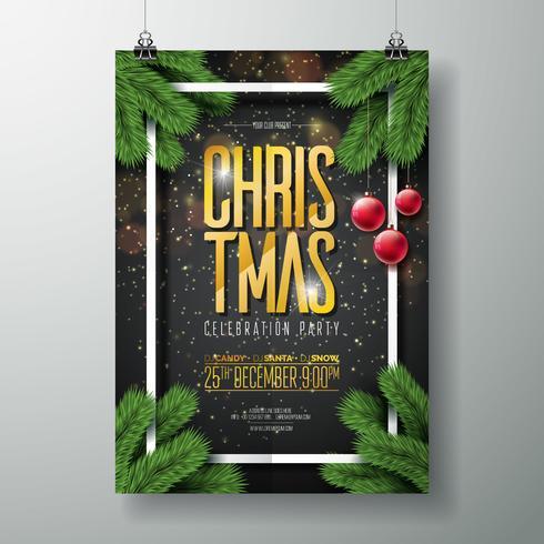 Modello di disegno di vettore Merry Christmas Party Poster con elementi di tipografia vacanza, ramo di pino e palla di vetro rosso su sfondo scuro.