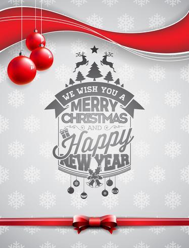 Vector el ejemplo del día de fiesta de la feliz Navidad y de la Feliz Año Nuevo con diseño tipográfico y las bolas de cristal en fondo de los copos de nieve.