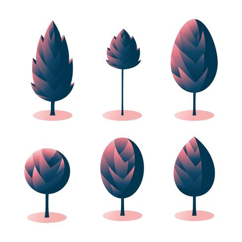 Spiky Trees Clipart Set