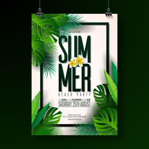 Vector Summer Beach Party Flyer Design med typografiska element på exotiskt blad bakgrund. Sommar natur blommiga element