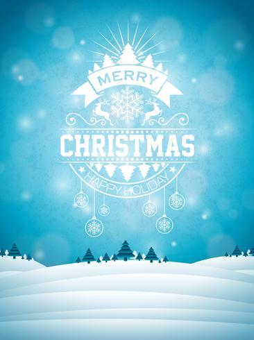 Joyeux Noël illustration avec décoration typographie et ornement sur fond de paysage d'hiver. Vector design de flyer ou affiche de vacances de Noël.