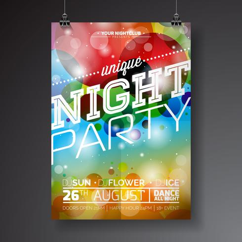 Vector Night Party Flyer Design with typographic design
