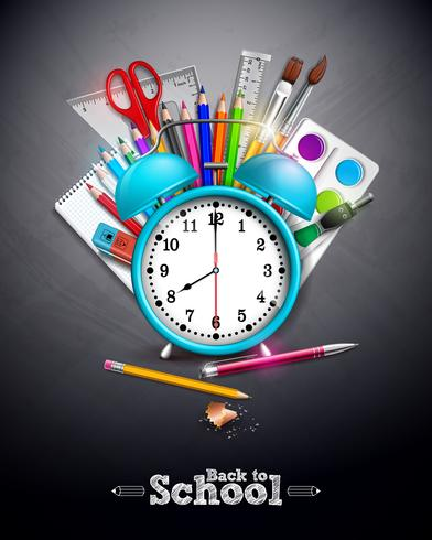 Retour à la conception de l'école avec un crayon graphite, un stylo et d'autres articles scolaires sur fond jaune. Illustration vectorielle avec réveil, tableau et typographie lettrage pour carte de voeux
