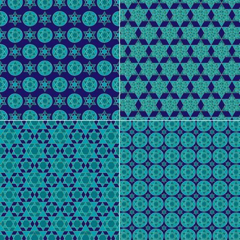 ornate blue and gold jewish star patterns vector