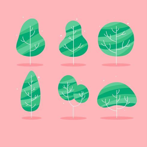 Simple Flat Tree Clipart Set Vector