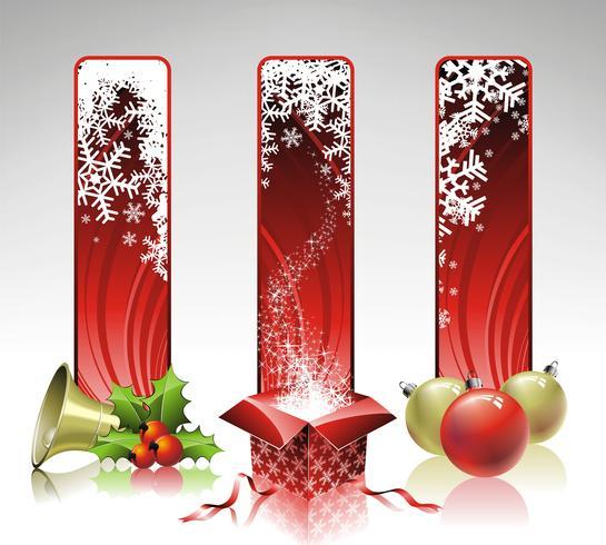 Vector illustration de Noël avec trois bannière verticale.