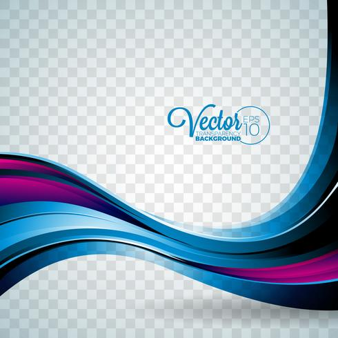 Abstrakt vektor våg design på transparent bakgrund.