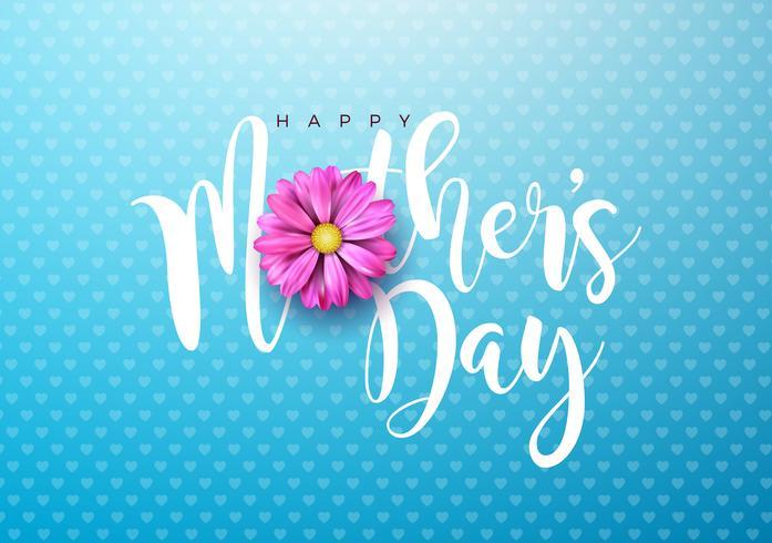 Ejemplo feliz de la tarjeta de felicitación del día de madres con la flor rosada y diseño tipográfico en fondo azul. Vector la plantilla del ejemplo de la celebración para la bandera, aviador, invitación, folleto, cartel.