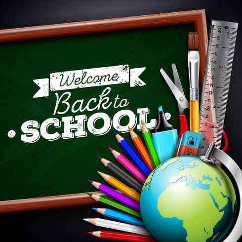 Torna a scuola design con matita colorata, gomma e altri oggetti della scuola su sfondo nero. Illustrazione vettoriale con globo, lavagna e gesso lettering per biglietto di auguri