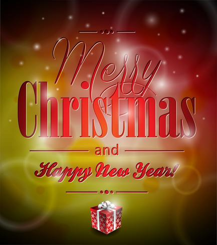 Vector Merry Christmas illustration with typographic design