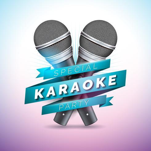 Illustration de vecteur flyer sur un thème de fête karaoké avec microphones et ruban sur fond violet.
