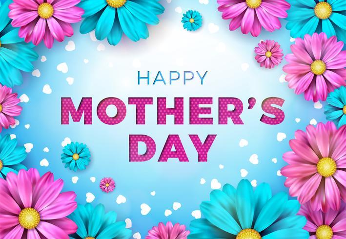 Diseño feliz de la tarjeta de felicitación del día de madres con la flor y elementos tipográficos en fondo azul. Vector ilustración de celebración
