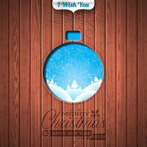 Gravierte typografische Gestaltung von Frohe Weihnachten und Happy New Year