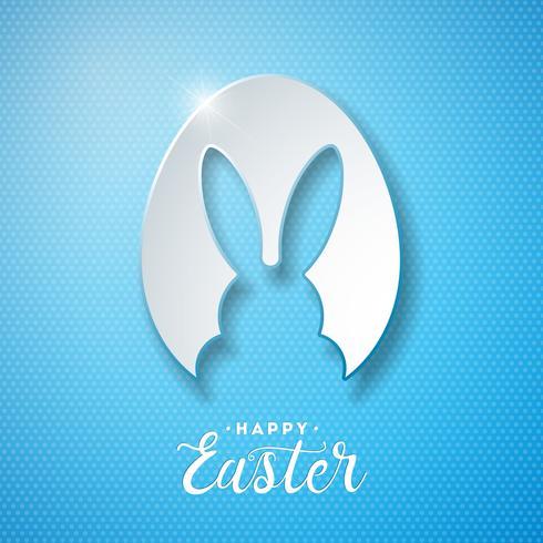 Vector a ilustração do feriado feliz da Páscoa com as orelhas de coelho no ovo do corte e na letra da tipografia no fundo azul. Design de celebração internacional para cartão, convite para festa ou Banner Promo.