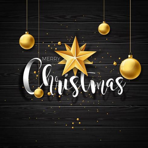 Vector el ejemplo de la Feliz Navidad en el fondo de madera del vintage con tipografía y elementos del día de fiesta. Estrellas y bolas ornamentales. Diseño EPS 10.