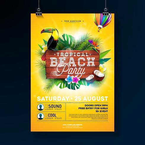 Vector Summer Beach Party Flyer Design med typografiska element på trästruktur bakgrund. Tropiska växter, blomma, toucan fågel, kokosnöt och luftballong med blå molnig himmel