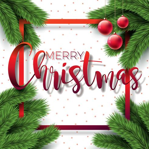 Merry Christmas Illustration on White Background with Typography and Holiday Elements, Vector EPS 10 design.