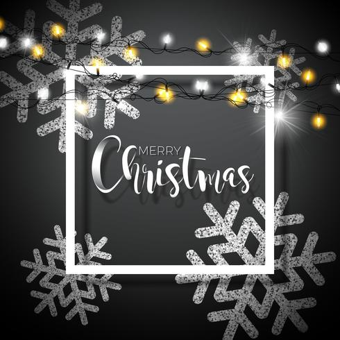 Fondo de Navidad con tipografía y brillantes copos de nieve y guirnaldas de luz de vacaciones sobre fondo negro. Vector ilustración de vacaciones