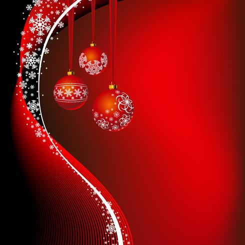 Christmas illustration with red ball and snowflakes