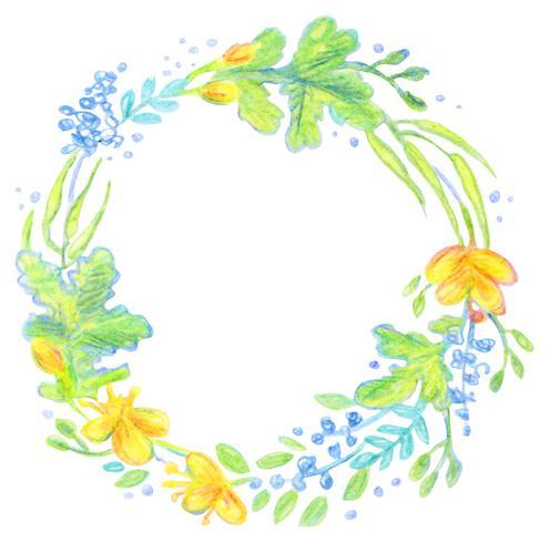 Frame floral pintado com lápis de cor.