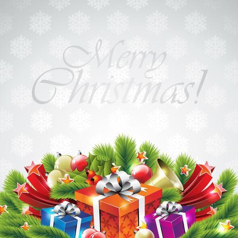 Illustration vectorielle sur un thème de Noël avec une boîte-cadeau et des éléments de vacances brillants