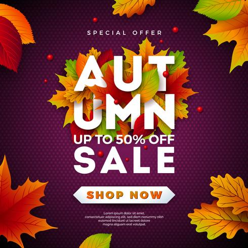 Diseño de la venta del otoño con las hojas y las letras que caen en fondo púrpura. Ilustración de vector otoñal con elementos de tipografía de oferta especial para cupón