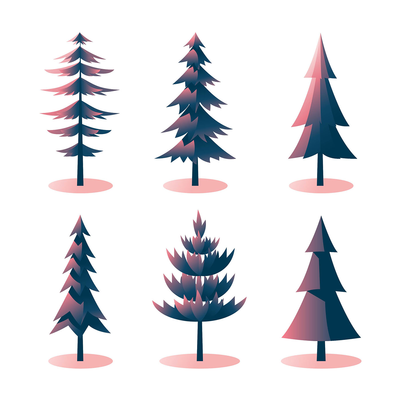 Pine Trees Clipart Set - Download Free Vectors, Clipart ...