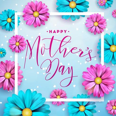 Glückliches Mutter-Tagesgrußkartendesign mit Blume und typografischen Elementen auf blauem Hintergrund. Vector Feier-Illustrationsschablone für Fahne, Flieger, Einladung, Broschüre, Plakat.