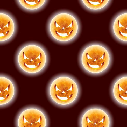 Ilustração sem emenda do teste padrão de Dia das Bruxas com as caras assustadores da lua no fundo escuro.