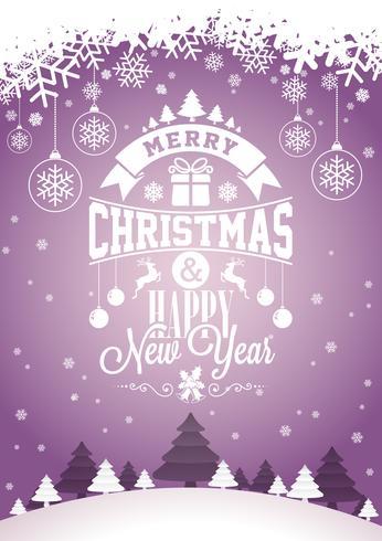 Vector el ejemplo del día de fiesta de la feliz Navidad y de la Feliz Año Nuevo con diseño tipográfico y los copos de nieve en fondo del paisaje del invierno.