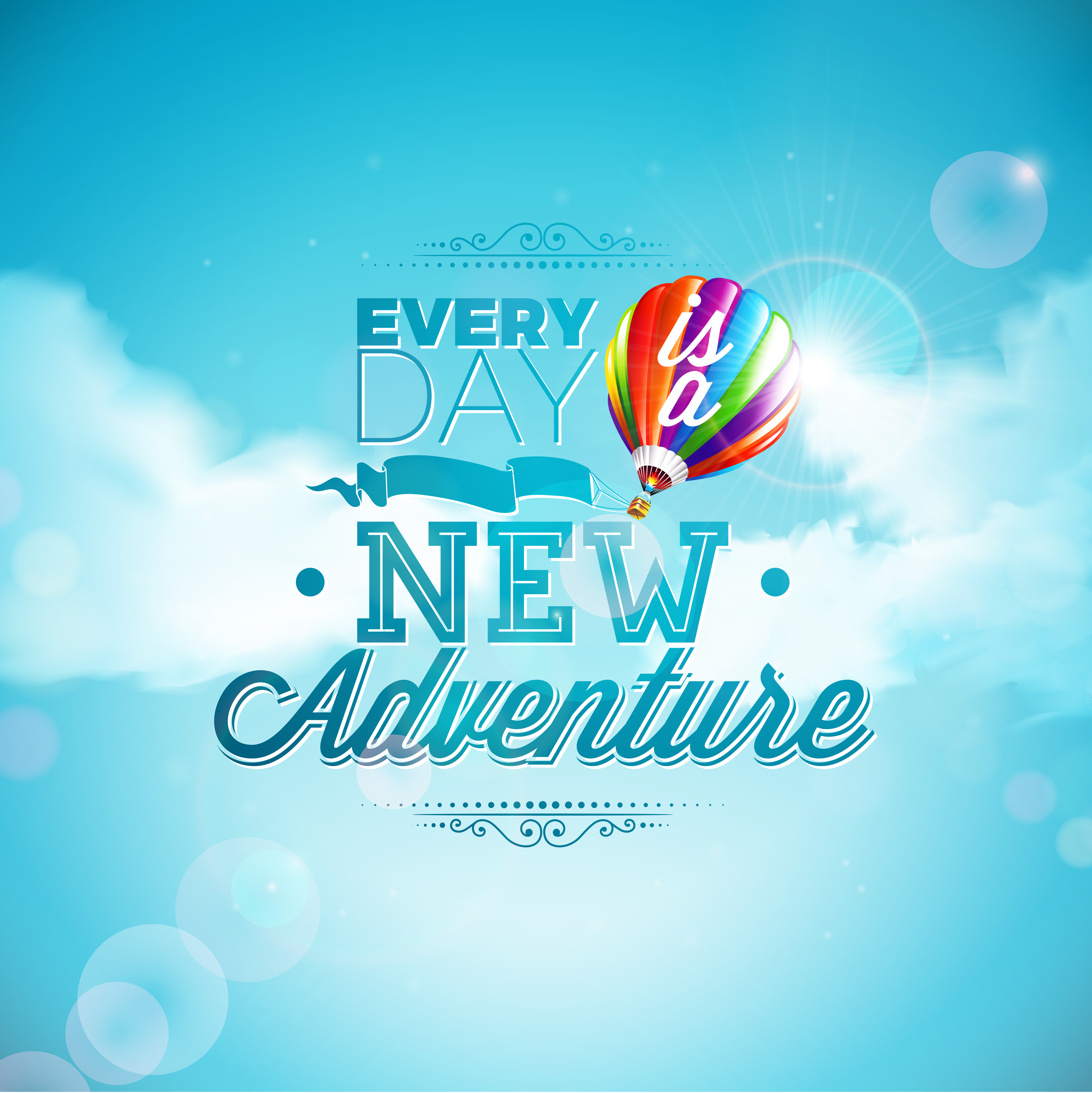 The Adventure Begins Typography Design And Air Balloon On