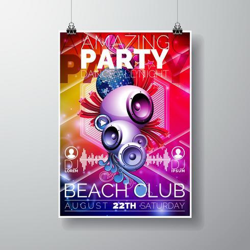 Vector Amazing Party Flyer Design con altoparlanti sul colore di sfondo