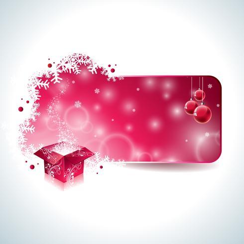 Vector design de Noël avec boîte de cadeau magique et boule de verre rouge sur fond clair.