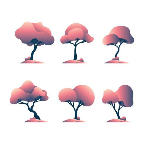 Conjunto de Clipart de árvores fofas