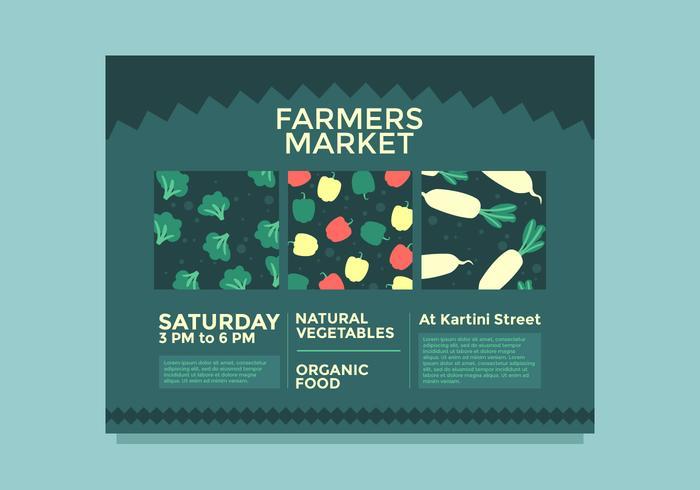 vetor de mercado de agricultores de design de folheto