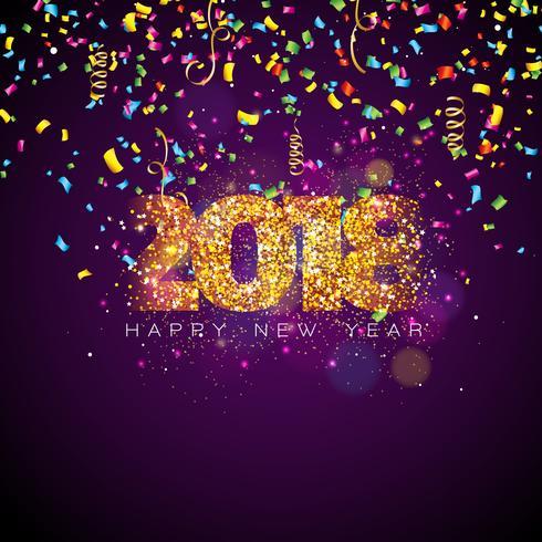 Vector el ejemplo de la Feliz Año Nuevo 2018 en fondo brillante de la iluminación con confeti colorido y diseño de la tipografía.