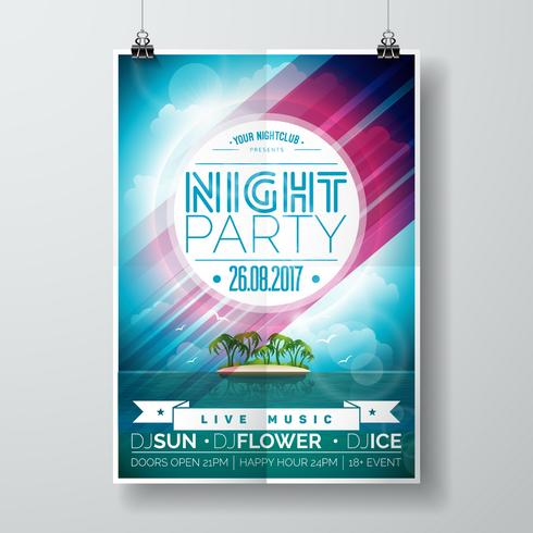 Vector Summer Night Party Flyer Design con paraíso isla en el paisaje del océano