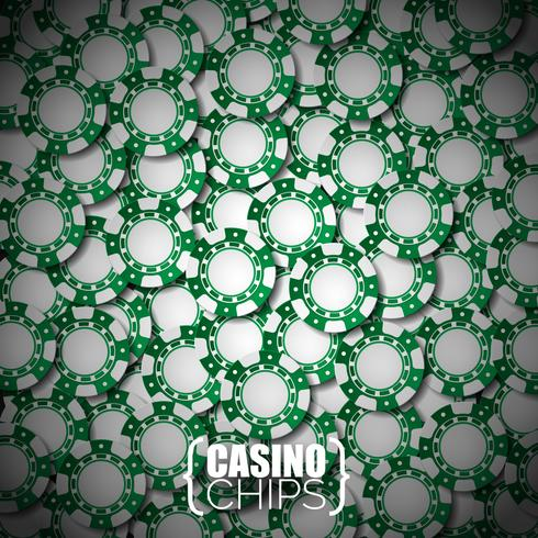 Vector illustration on a casino theme with green playing chips