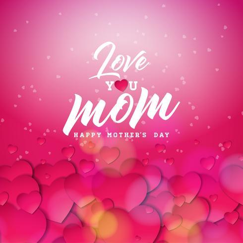 El diseño feliz de la tarjeta de felicitación del día de madres con el corazón y le ama elementos tipográficos de la mamá en fondo rojo. Vector ilustración de celebración