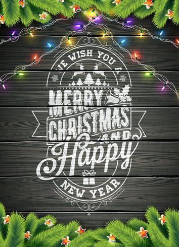 Feliz Natal e ilustração do ano novo feliz no fundo de madeira do vintage com elementos da tipografia e do feriado, projeto do EPS 10 do vetor.