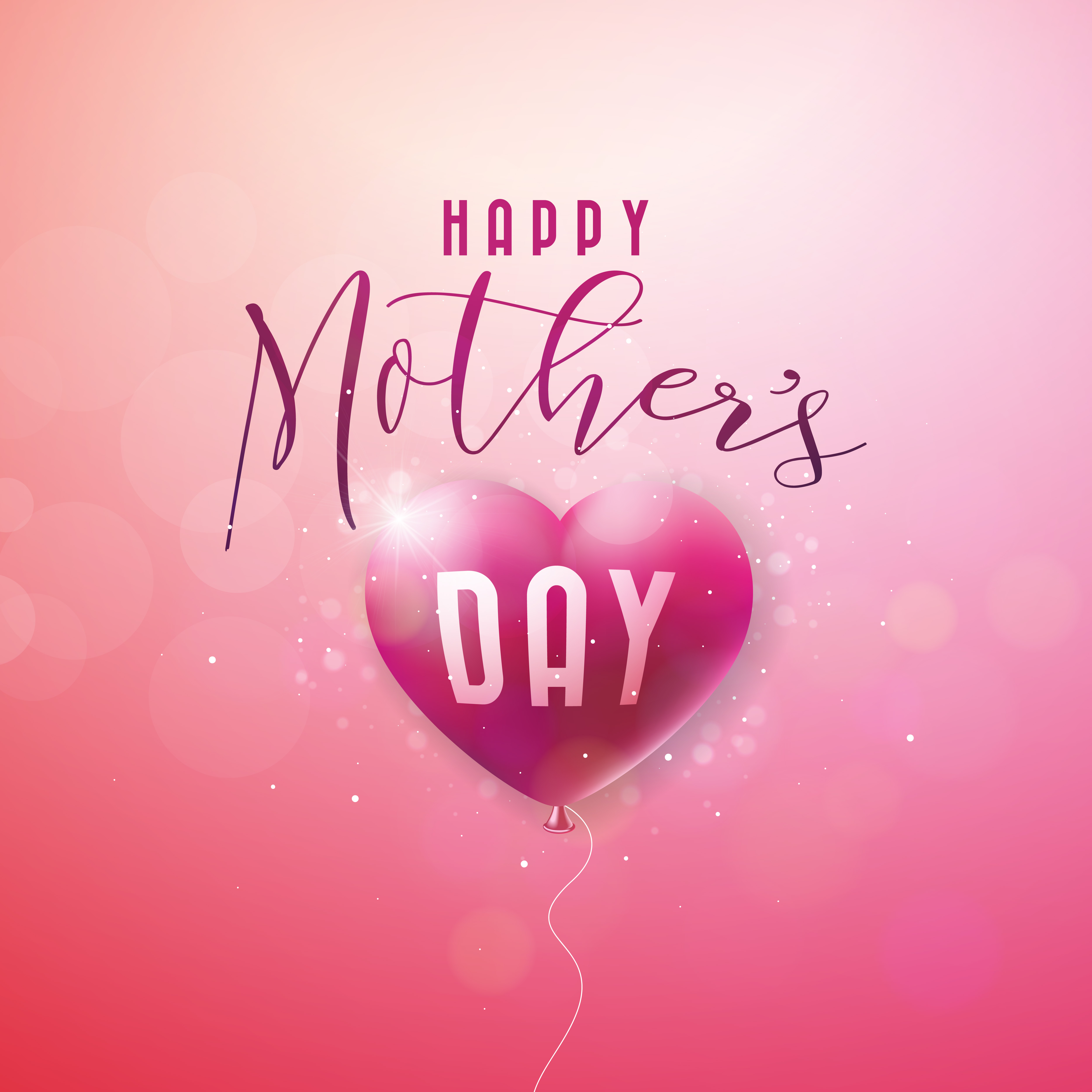 happy mothers day greeting card with flower on pink