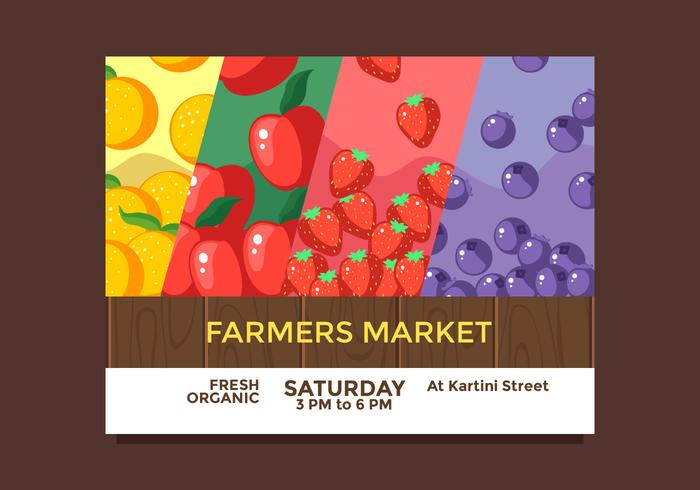 Flyer Design Frutas Agricultores Mercado Vector