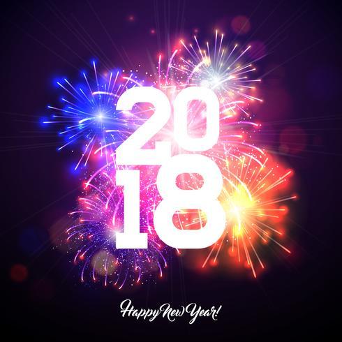 Gelukkig Nieuwjaar 2018 illustratie met vuurwerk en witte nummer op glanzende blauwe achtergrond. Vector vakantie ontwerp voor Premium wenskaart, uitnodiging voor feest of promotie banner.