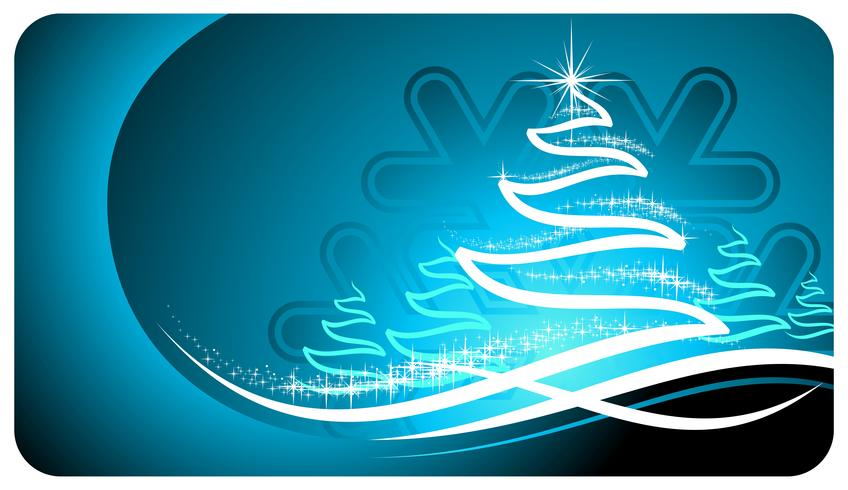 Vector holiday illustration with shiny abstract Christmas tree on blue background.