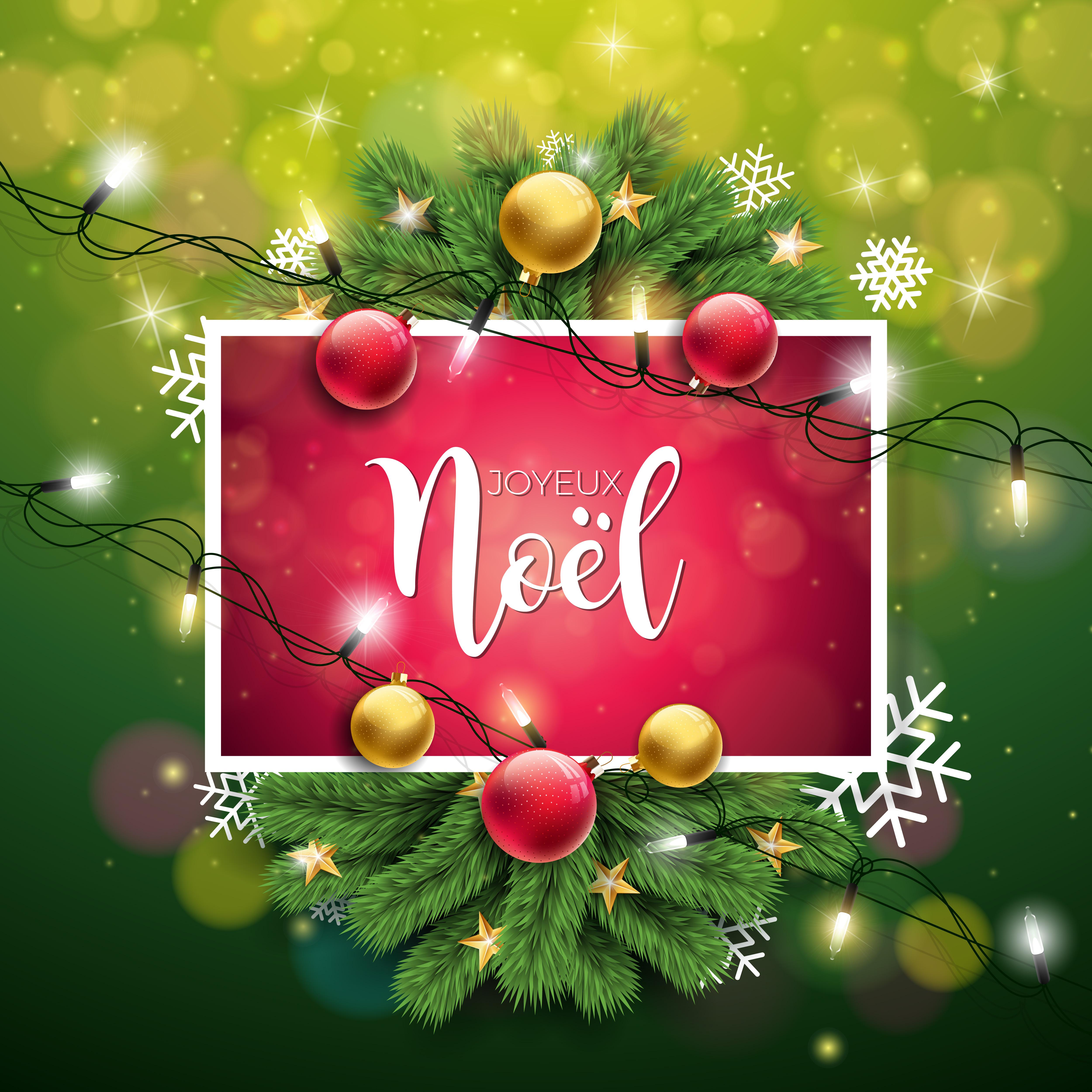 Vector Christmas Illustration With French Joyeux Noel