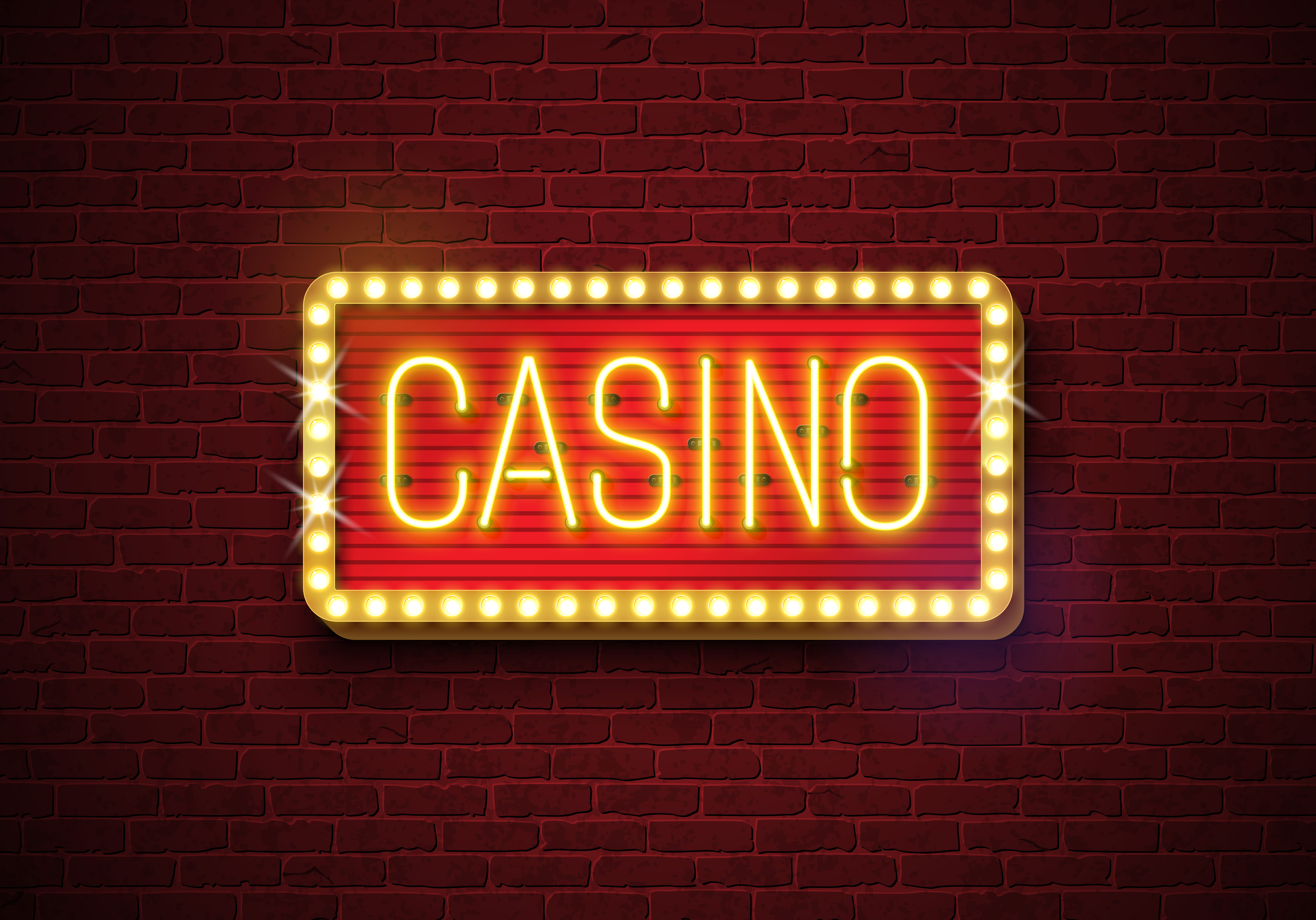 Casino Neon Sign Illustration On Brick Wall Background