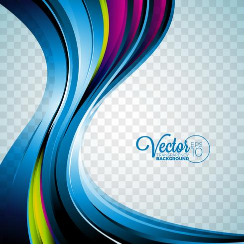 Abstract vector wave design on transparent background.