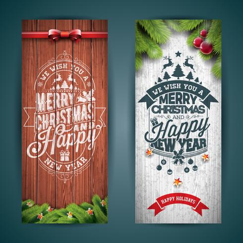 Vector Merry Christmas banner illustration with typography design and pine tree branch on vintage wood background.