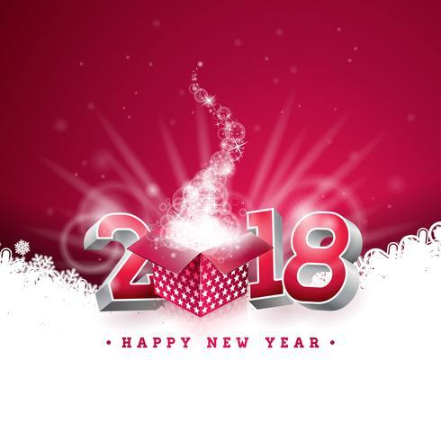 Ilustração do ano novo feliz 2018 do vetor com caixa de presente e número 3d no fundo vermelho brilhante. Design de férias para cartão Premium, convite para festa ou Banner Promo.